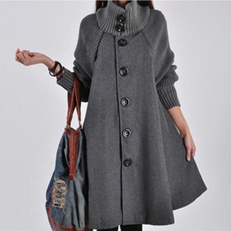 Bigsweety, зимняя теплая ветровка, женский шерстяной плащ пальто, вязаный Тренч с длинными рукавами, женская одежда, однобортная верхняя одежда