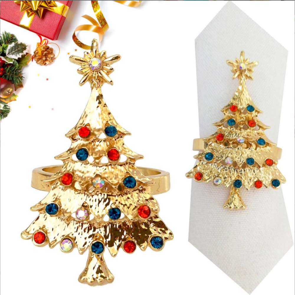 New Style Shiny Diamond Set Christmas Tree Meal Buckle Gold-Tone Metal Napkin Ring Hotel Sample Room Tabletop Napkin Rings