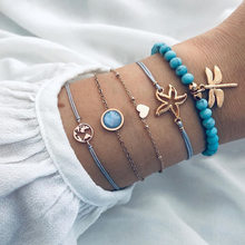 DIEZI Bohemian Sky Blue Beads Bracelet Sets For Women Handmade Dragonfly Map Starfish Rope Chain Bracelets Bangles Jewelry(China)