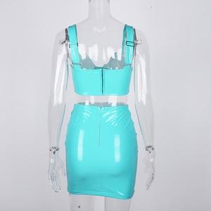 Image 5 - Colysmo קיץ עור מפוצל שמלת נשים 2020 ללא משענת חזה מגולף V צוואר סקסי מפלגה שמלת שתי חתיכה מיני Bodycon שמלת ניאון ורוד