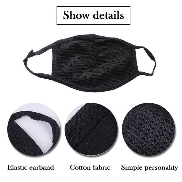 Cotton Black Mouth Mask Anti Dust Mask Activated Carbon Filter Windproof Dust Proof Anti Flu Anti Haze Face Masks Care 4
