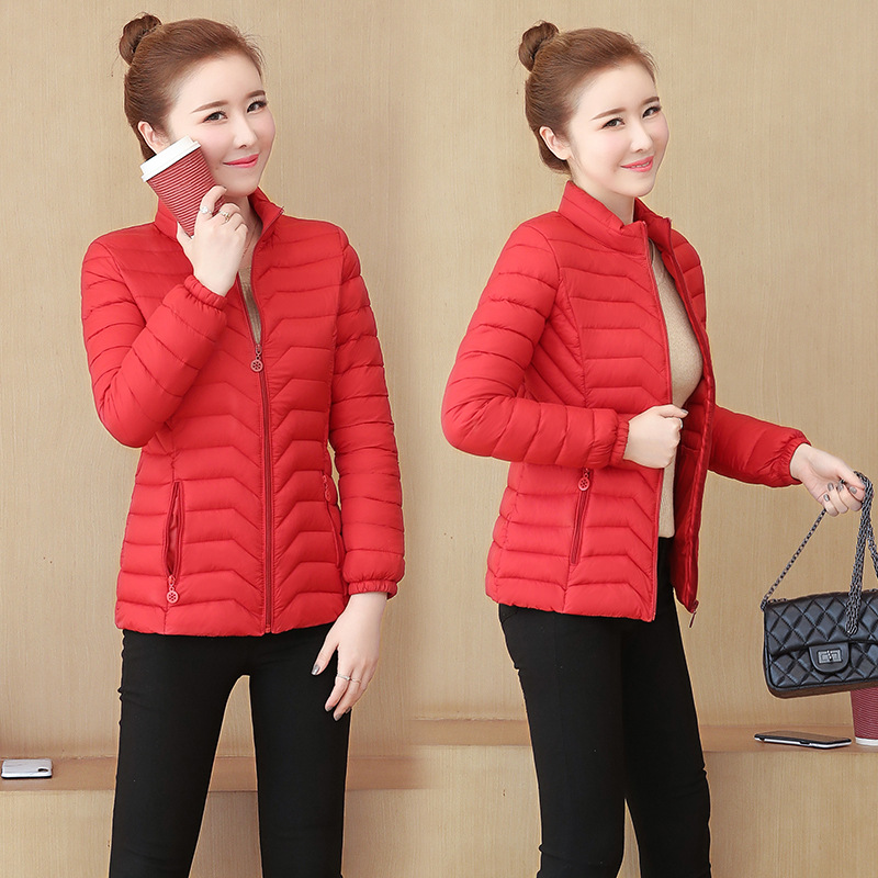 Solid Plus Size Thin Down Coat Women Winter Casual Stand Collar Long Sleeve Coat Korean Female Fashion Wild Warm Slim Outwears