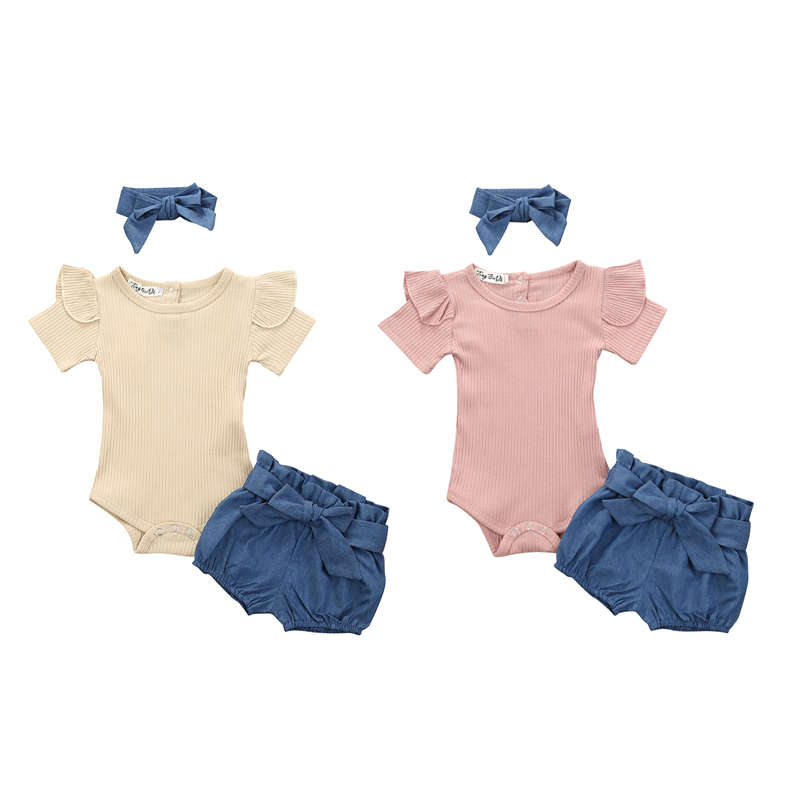 Newborn Baby Girl Clothes Knit Short Sleeve Romoer Tops+Denim Shorts+Headband 3Pcs Sets Toddler Summer Casual Outfits 0-24M
