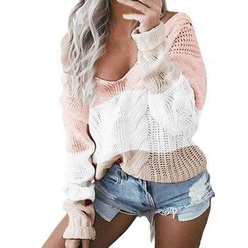 Suéter sexy de punto Rosa Casual con cuello en V jersey de manga larga de retazos suéter suelto tapas suéteres para mujeres chompas para