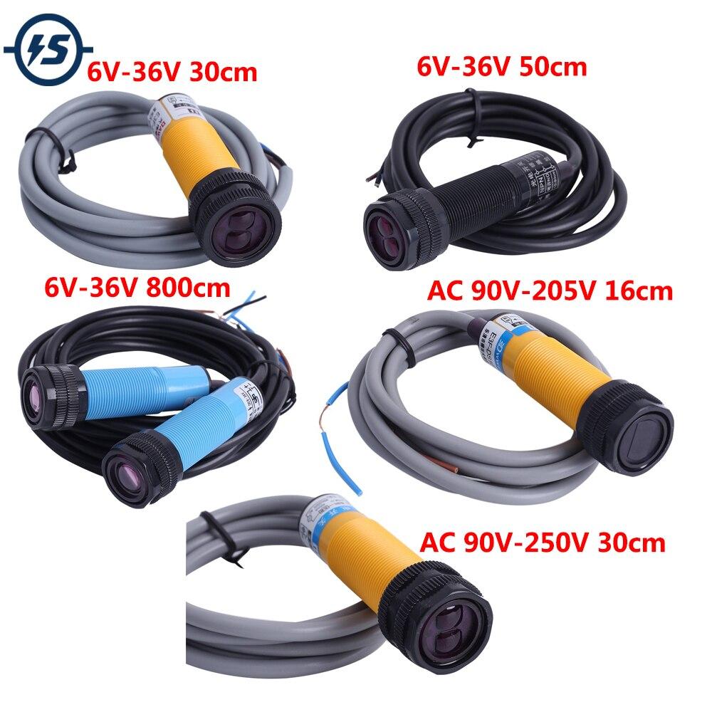 Infrarot-lichtschranke Abstand Detektor Sensor Schalter Controller KEINE NPN Ausgang Diffuse Proximity Schalter DC 6V-36V AC90V-250V
