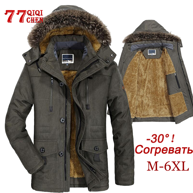 Mens Winter Jacket Thick Casual Outwear Jackets Male Fur Collar Windproof Waterproof Parkas Plus Size 6XL New Velvet Warm Coat