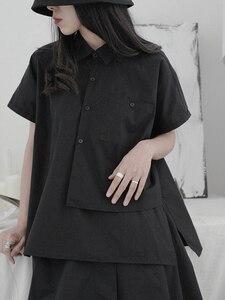 [EAM] Women Black Asymmetrical Big Size Blouse New Lapel Short Sleeve Loose Fit Shirt Fashion Tide Spring Summer 2020 1T537