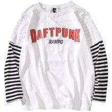 New Fashion Autumn Long Sleeve T-shirt Men Casualwear Strip Fake Two Piece T shirts HIgh Street Top Tee