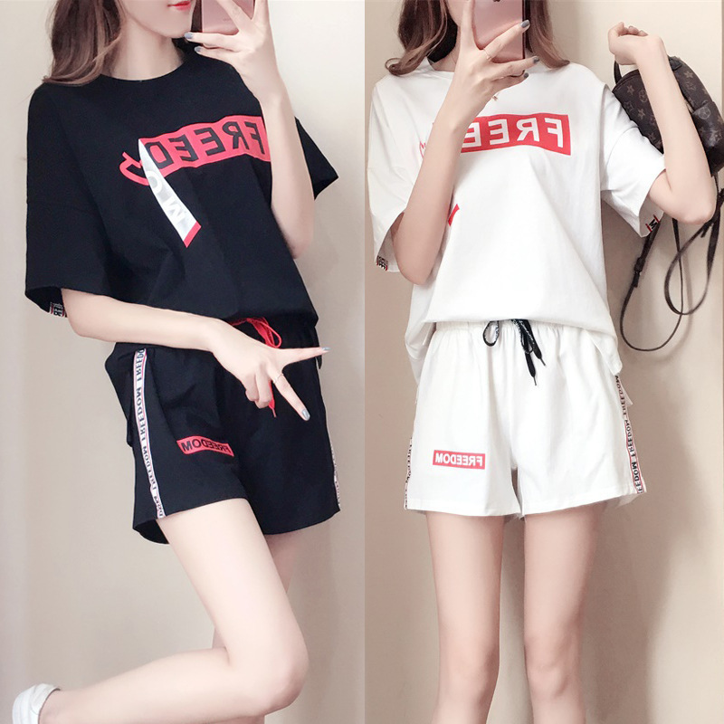 -2019 Summer New Style Casual Sports WOMEN'S Suit Fashion Loose Short Sleeve Large Size Shorts Two-Piece Women's