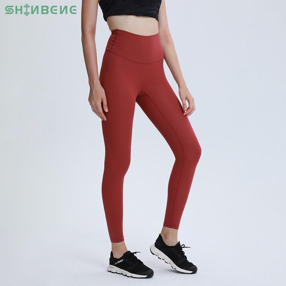 Legging Women Yoga-Pants SHINBENE Naked-Feel Sport High-Rise SEAM Workout CLASSIC Gym