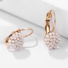 1 para 2019 nowa moda biżuteria kobiety Lady elegancka perła koraliki ucha stadniny kolczyki dla kobiet biżuteria ślubna tanie tanio yanqueens (w) Tin Alloy jako obraz Pearl TRENDY Push-powrotem Okrągłe