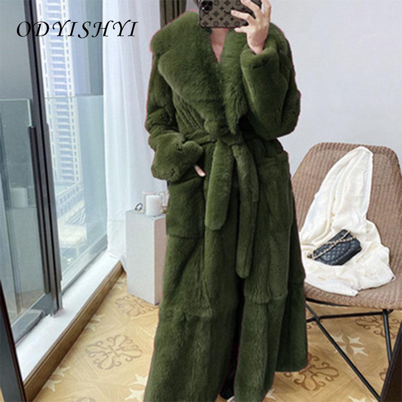 Parka Women Fur Coats 2020 Thick Winter Outwear Warm Long Faux Fur Jacket Female Temperament Slim Overcoat Plus Size S-5XL DH298