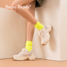 BeauToday Chunky Sneakers Women Dad Shoes Genuine Cow Leather Lace-Up Top Brand Lady Casual Thick Sole Handmade 29325 walking genuine leather sneakers lace up thick sole black and white designer shoes women luxury 2018 trainers flats casual brand