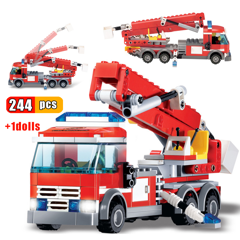 KAZI 244 шт. пожарная лестница строительные блоки для грузовиков город пожарный автомобиль Кирпичи DIY строительные игрушки для детей