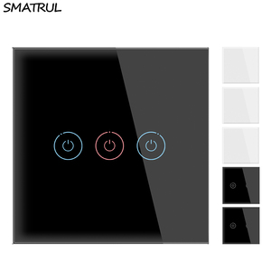 SMATRUL Wall Light Touch Sensor Switch No Neutral Wire Required 1 2 3 Gang 1 Way EU UK Power Crystal Glass Panel 110V 220V Home