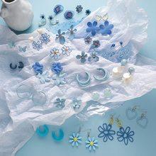 MENGJIQIAO – boucles d'oreilles en forme de fleur pour femmes et filles, bijoux géométriques élégants, de couleur bleue, à la mode