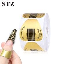 STZ 50 sztuk/zestaw profesjonalne Nail Art formularz francuski porady formy żel UV polerowanie rozszerzenie przewodnik naklejki narzędzia akcesoria do Manicure NJ071