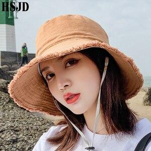 Image 5 - Yıkanmış Denim kubbe üst güneş kova şapkalar Panama kadın yaz kapakları geniş ağız katlanabilir açık seyahat şapka Anti UV plaj kapaklar kaput