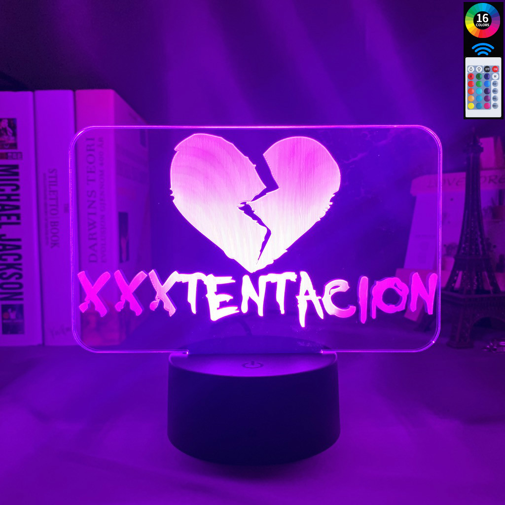 3d Illusion Lamp Touch Switch American Rapper XXXTentacion Icon Heart Broken Decoration Girls Nightlight Gift Table Lamp