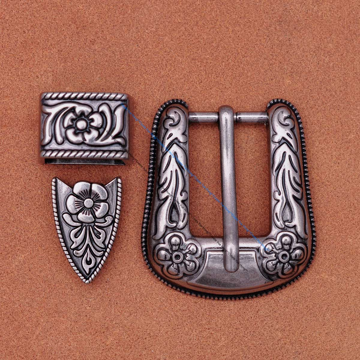 Unisex 's Western Cowboy Cowgirl Rodeo Antique Silver Flower Engraved Leather Belt Buckle Fit 20mm Belt Strap
