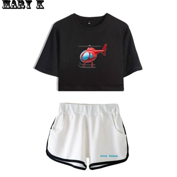 Tony Lopez Merch Elicopter Women Two Piece Set Shorts+lovely T-shirt Harajuku Hot Sale The Hype House Girl Sets