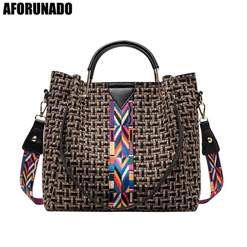 New 2 Set Tote Luxury Handbags Women Bags Designer Canvas Knitting Shoulder Bag Fashion Ladies Crossbody Bags For Women 2020
