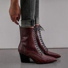 Женские ковбойские ботинки, ковбойские ботинки с острым носком и тиснением, Черные Ботинки на каблуке, Осень зима 2020
