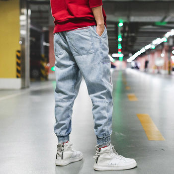 Hip Hop Streetwear Harem Jeans Pants Men Loose Joggers Denim Casual Sweatpants Korea Ankle length Trousers 2