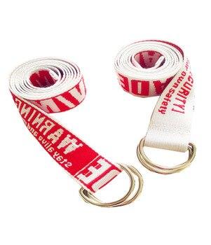 Harajuku unisex canvas long wide belt men women embroidery letter print teenage jeans metal buckle waist strap belt tape men letter tape side camo print pants