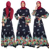 Ethnic Women Floral Print Long Sleeve Maxi Dress Muslim Abaya Islamic Kaftan Arab Jilbab Dubai Vintage Clothing Ramadan Fashion