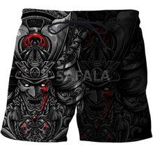 Japonais samouraï tatouage 3D impression hommes Shorts unisexe Streetwear taille élastique Shorts été plage Harajuku décontracté cordon-1