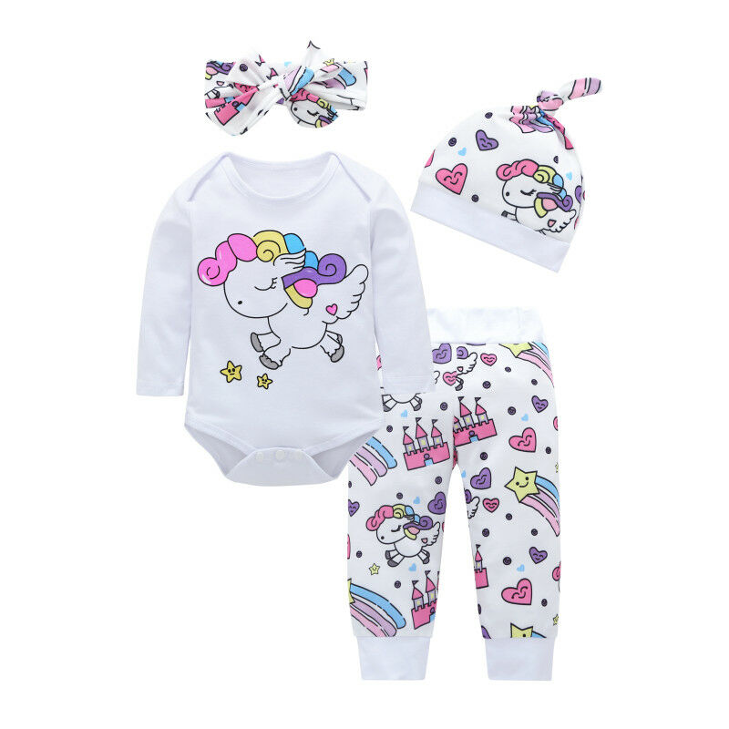 Newborn Baby Girl Unicorn Bodysuit Printed Pants Leggings Hat Headband Lovely 4Pcs Outfits Clothes 0-18M