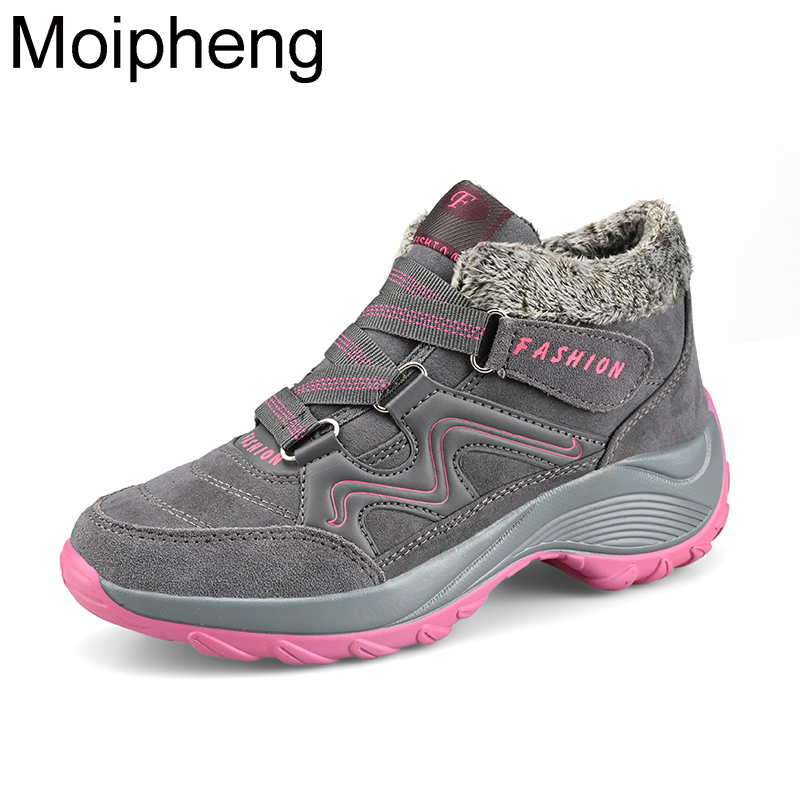 Moipheng Women Snow Boots Winter Flat Warm Plush Ladies Shoes Round Toe Height Increasing Ankle Boots Shoes Lace-Up Snow Boots