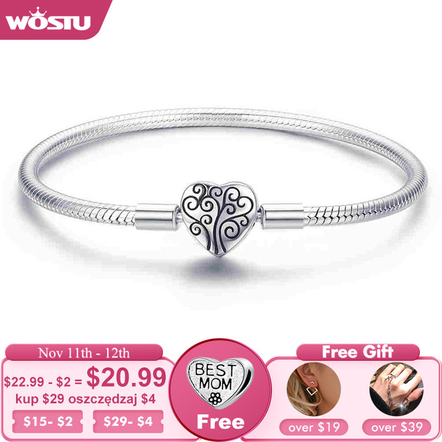 WOSTU Genuine 925 Sterling Silver Tree of Life Charm Bracelet & Bangle For Women Fit Original Brand DIY Beads Jewelry CQB066