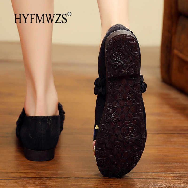 HYFMWZS/туфли без каблуков с вышивкой ручной работы; винтажные повседневные лоферы; женская обувь с цветочным узором; нескользящая обувь для беременных женщин; Размеры 35-40