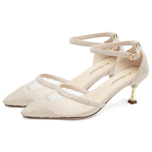 Luxury Shoes Women Designers 6CM High Heel Kitten Heels Ladies Pumps 11802AJS4592 women s girls denim jeans blue ripped low heels slippers cloth kitten heel shoes pumps slingback
