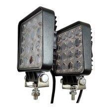Farol de led para caminhão, barra de luz de led para trabalho com 12v, 48w e 4 polegadas, para caminhão, trator, barco, reboque 4x4 suv atv lâmpada led luz de condução