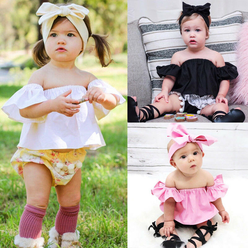 Cute Newborn Baby Girl Solid Off The Shoulder Short Ruffle Sleeve Crop Tops Summer Casual Loose T-shirt Tops