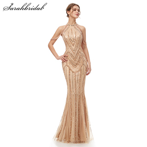 Image 1 - Женское вечернее платье в пол, элегантное роскошное длинное платье Русалка из фатина, вечерние платья в арабском стиле для выпускного вечера, WT5404