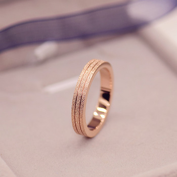 KNOCK  Top Quality Rose Gold Color Frosted Ring for Woman Girl Gift  316 L Stainless Steel Ring Never Fade  Jewelry 1