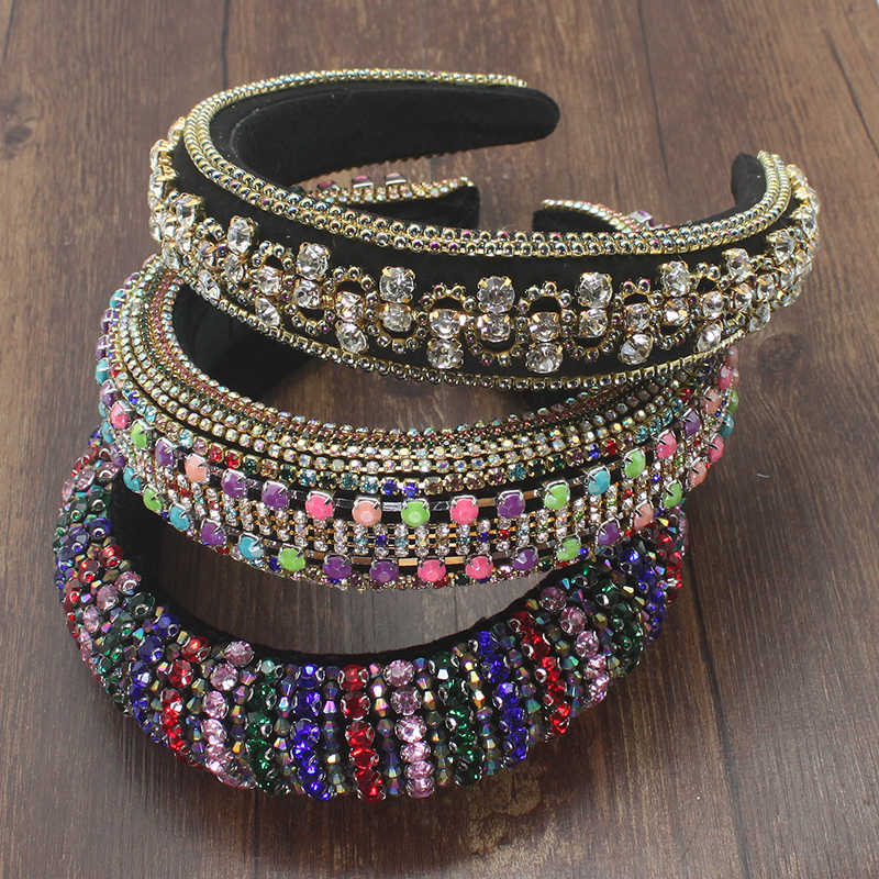 Bunte Strass Padded Stirnbänder Volle Kristall Perlen Haarband Schwamm Haar Hoop Luxus Party Frauen Stirnband Shiny Headwear