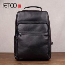 Мужской кожаный рюкзак aetoo повседневный первого слоя сумка