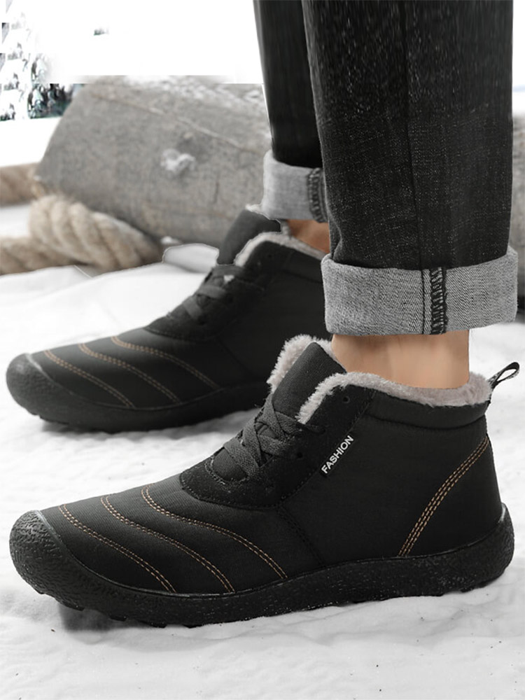 REETENE Men Winter Boots Ankle Warm Waterproof Men's No for Fur Plush Shoes
