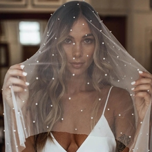Wedding-Veil Blusher Comb Cathedral Pearls 2-Layer Face-Covered with Velos-De-Noiva-80