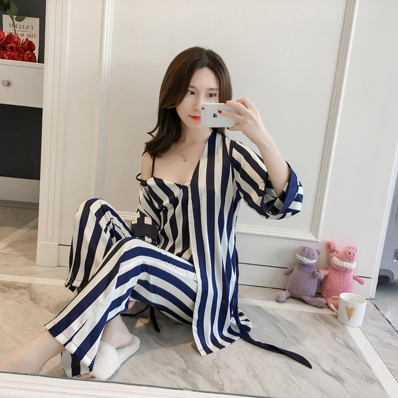 Spring Autumn Lady Halter Pants Nightgown Homewear Pajamas Set With Bra 4Pcs Satin Striped Long Sleeved Trousers Sleepwear Suit