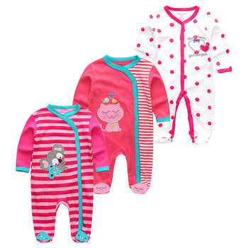 0-12Months Baby Rompers Newborn Girls&Boys 100%Cotton Clothes of Long Sheeve 1/2/3Piece Infant Clothing Pajamas Overalls Cheap - Baby Rompers RFL3709, 6M