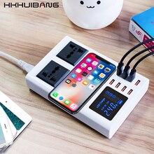 Hkhuibang 2021新柄ledデジタルディスプレイusb充電器8ポート電源銀行電源コンセントアダプタ電話急速充電器