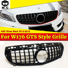 цены на W176 Sport grille grill GT R style ABS Black without sign For MercedesMB A class A180 A200 A250 A45 look Front grills 2013-2015  в интернет-магазинах