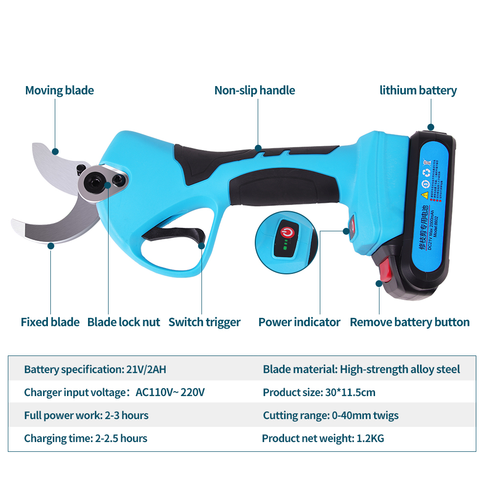 Tools : SWANSOFT 21V Cordless Pruner electric scissors 40mm cutting electric pruning shears garden and vineyard electric secateurs