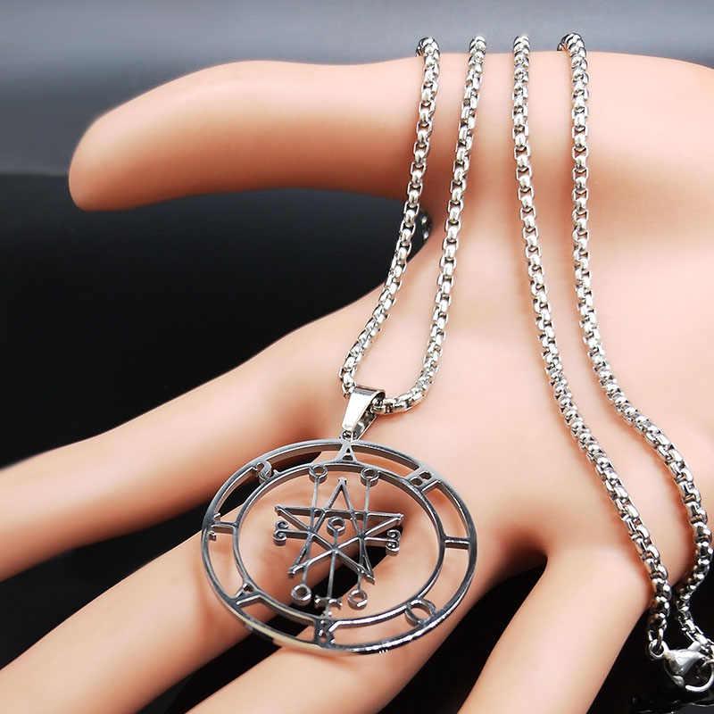 2019 Astaroth Sigil Goetia Dây Chuyền Solomon Quỷ Cói Satan Sigil Satanique Miếng Dán Pin Trang Sức Collier Femme